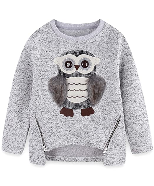15f2eb8889a Cute Owl Sweater for Teen Girls Kids Little Big Girls Pullover Size 5-6