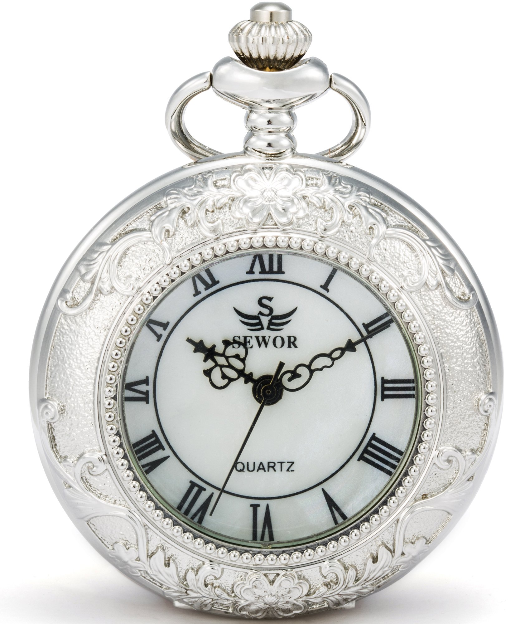 SEWOR Quartz Pocket Watch Shell Dial Magnifier Case With Two Type Chain (Leather+Metal) (Sliver)