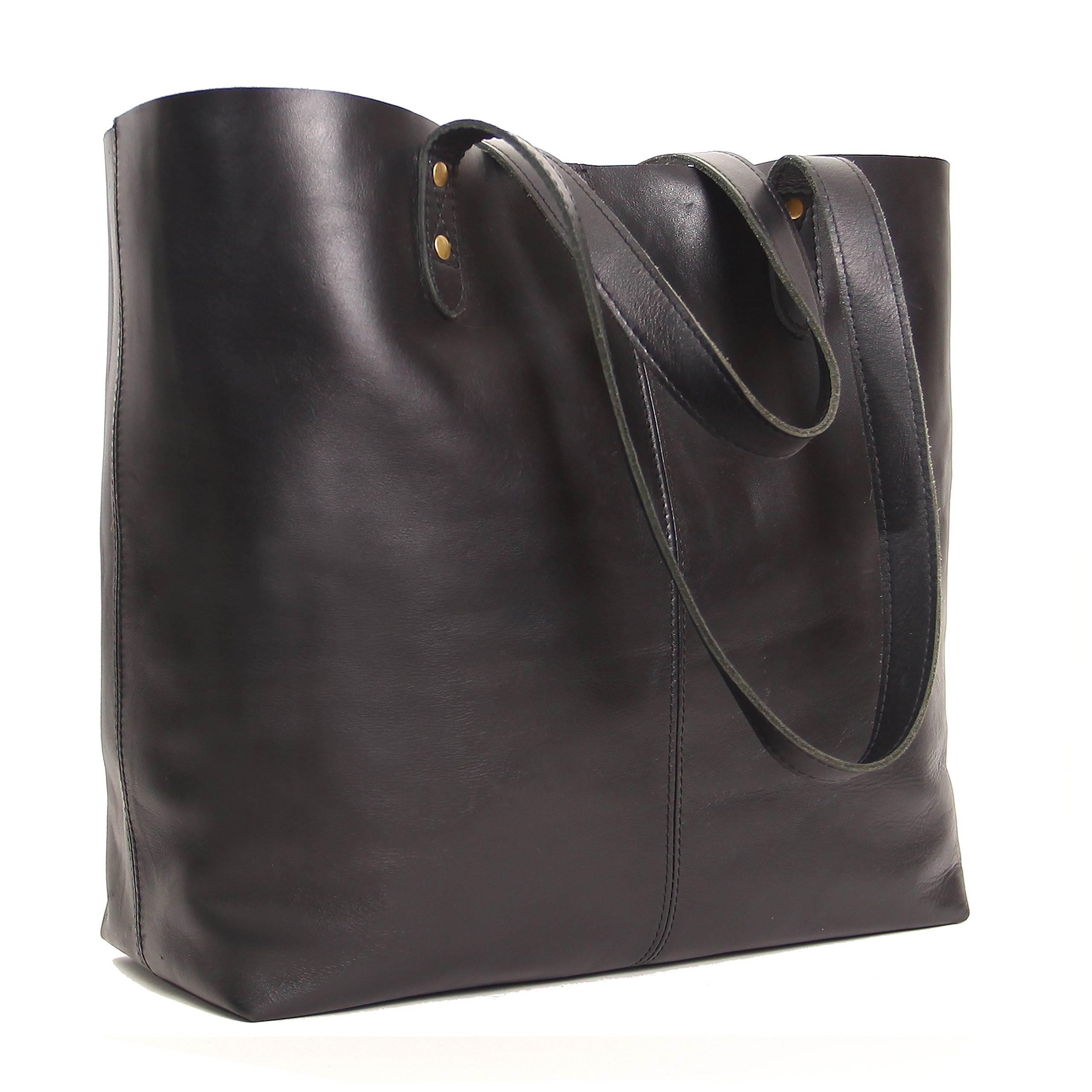 Genuine Leather Tote Bag, Large Everyday Shoulder Bag for Work, Shopping, Gym or Travel (Black)