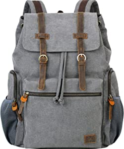 WOWBOX Canvas Backpack Vintage Leather 15.6 Inch Laptop School Backpack Travel Rucksack Grey