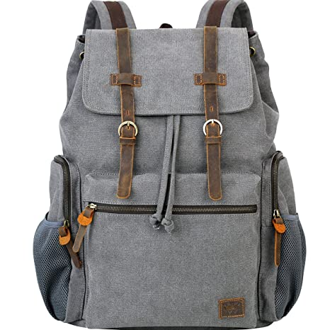419404d3f98d Wowbox 15.6 Inch Laptop Canvas Backpack Unisex Vintage Leather Casual  Rucksack School College Bags Satchel Bookbag