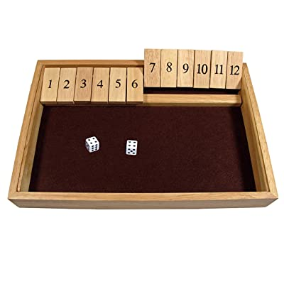 WE Games Deluxe Shut The Box - Wooden Board Game with Dice for The Classroom, Home or Pub - 14 in.: Toys & Games