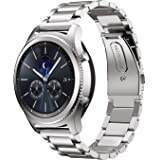 Samsung Gear S3 Watch Band, IVSO Stainless Steel Metal Bracelet with Connector, Replacement Watch Strap for Samsung Gear S3 Classic Smart Watch(Silver)