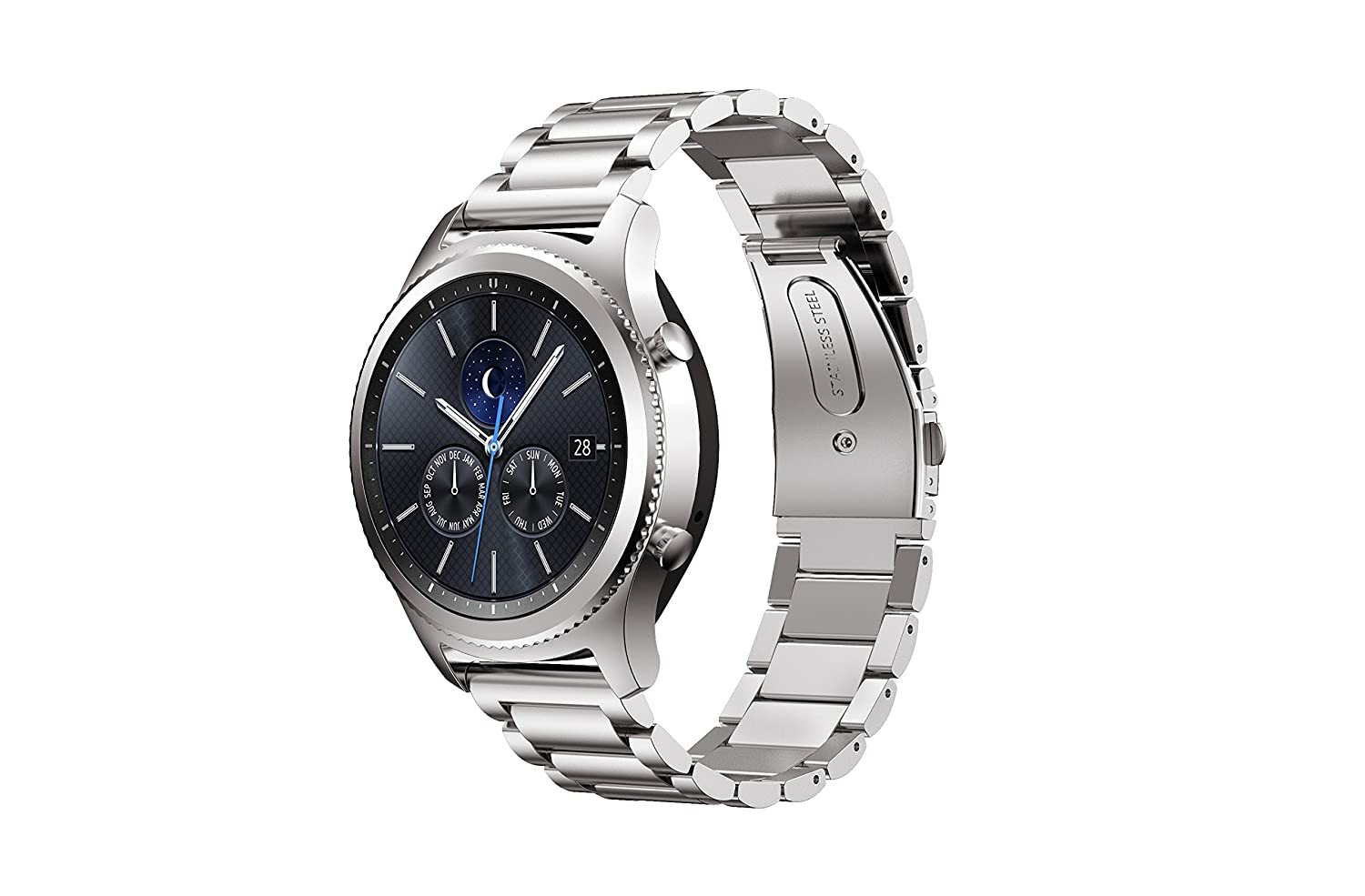 IVSO Samsung Gear S3 Watch Band, Stainless Steel Metal Bracelet with  Connector, Replacement Watch Strap for Samsung Gear S3 Classic Smart Watch(Silver)