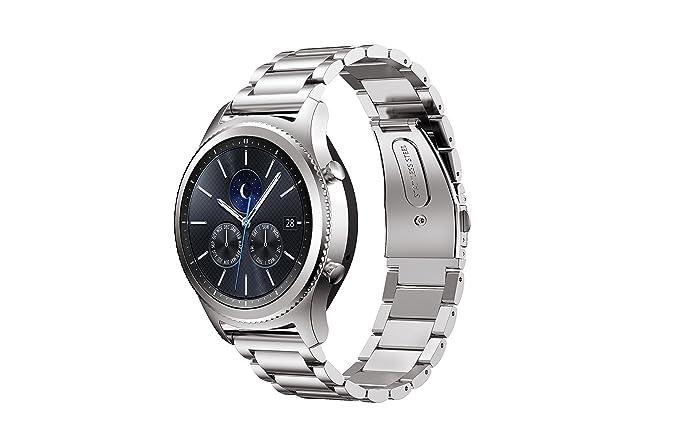 Samsung S3 Engranaje Banda de Reloj, Pulsera de Metal de Acero Inoxidable con Conector IVSO, Reloj Correa de Repuesto para Samsung S3 Smart Gear ...
