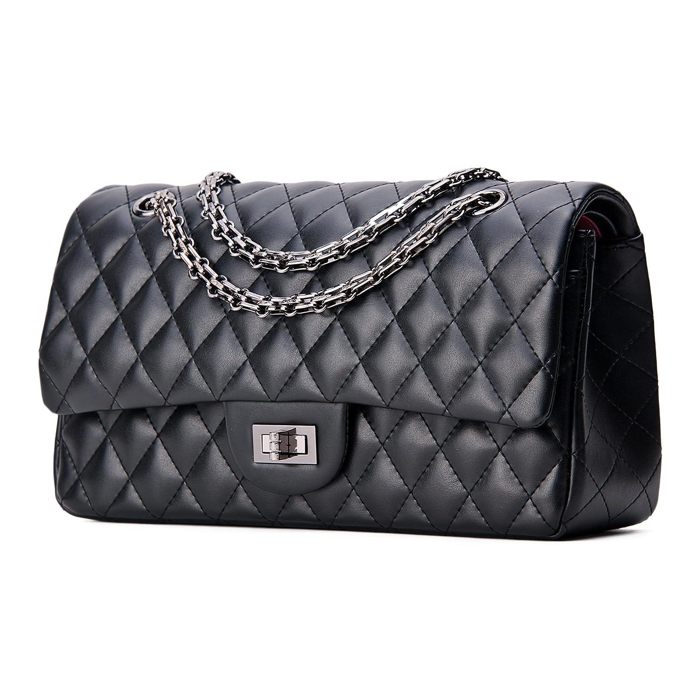 SanMario Designer Handbags Lambskin Classic Quilted Chain Double Flap  Women s Crossbody Shoulder Bag (25.5cm 10