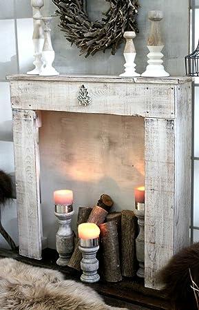 Dekorie67 Console De Cheminee Cheminee Decorative Manteau De Cheminee En Bois Blanc Antique Pret A L Emploi