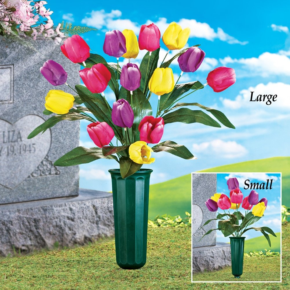 Tulip Flowers Bouquet Cemetery Grave in Memorial Flower Vase, Large ...