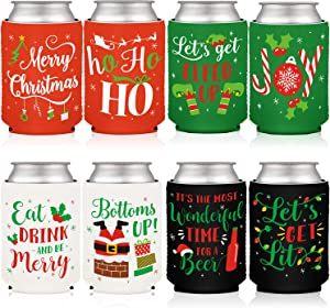 Christmas Favor Decorations Supplies Xmas Holiday Can Sleeves Coolers Can Covers for Christmas Gathering Winter Party Gift Ideas Neoprene Soda Beer Can Beverage Set of 8