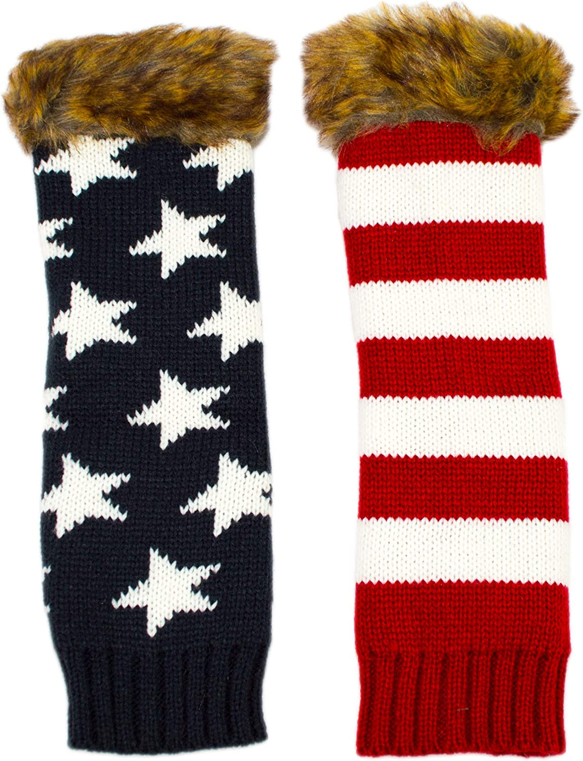 Stripey Striped Womens Long Fingerless Slouch Gloves Armwarmers Winter Mittens