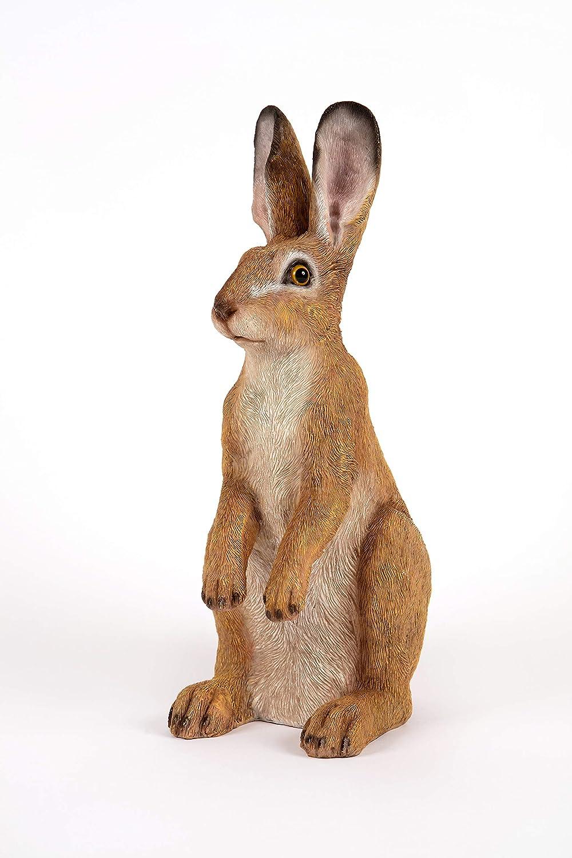 White Resin Standing Rabbit Hare Garden Patio Lawn Statue Figure Ornament Gift
