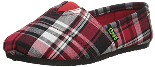 DAWGS Kaymann Canvas Slip-On (Toddler/Little Kid), Red Plaid, 2 M US Little Kid