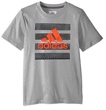 ca694ec87 adidas Boys' Big Short Sleeve Graphic Tee Shirt, Hacked Medium Grey  Heather, S