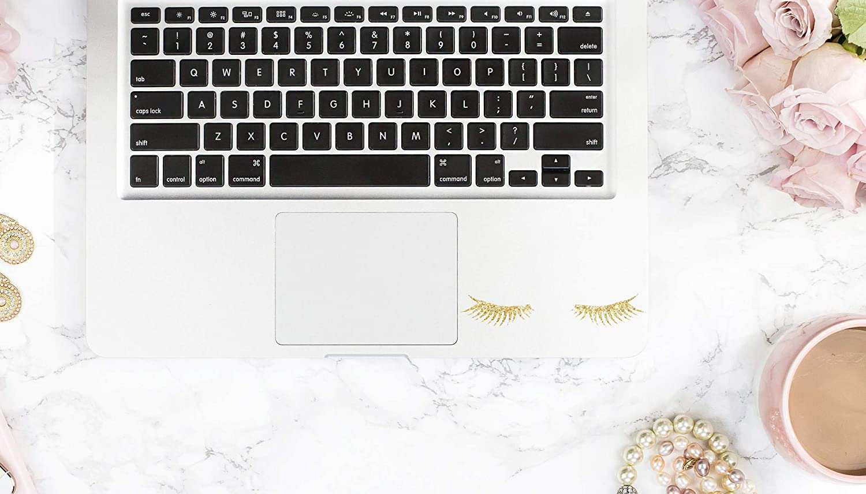 "Tamengi Glitter Sleepy Eyelashes Decal, Foil Sleepy Eyelashes, Chrome Eyelashes Sticker, Rainbow Eylashes Decal for Laptop, car, Notebook 4"""