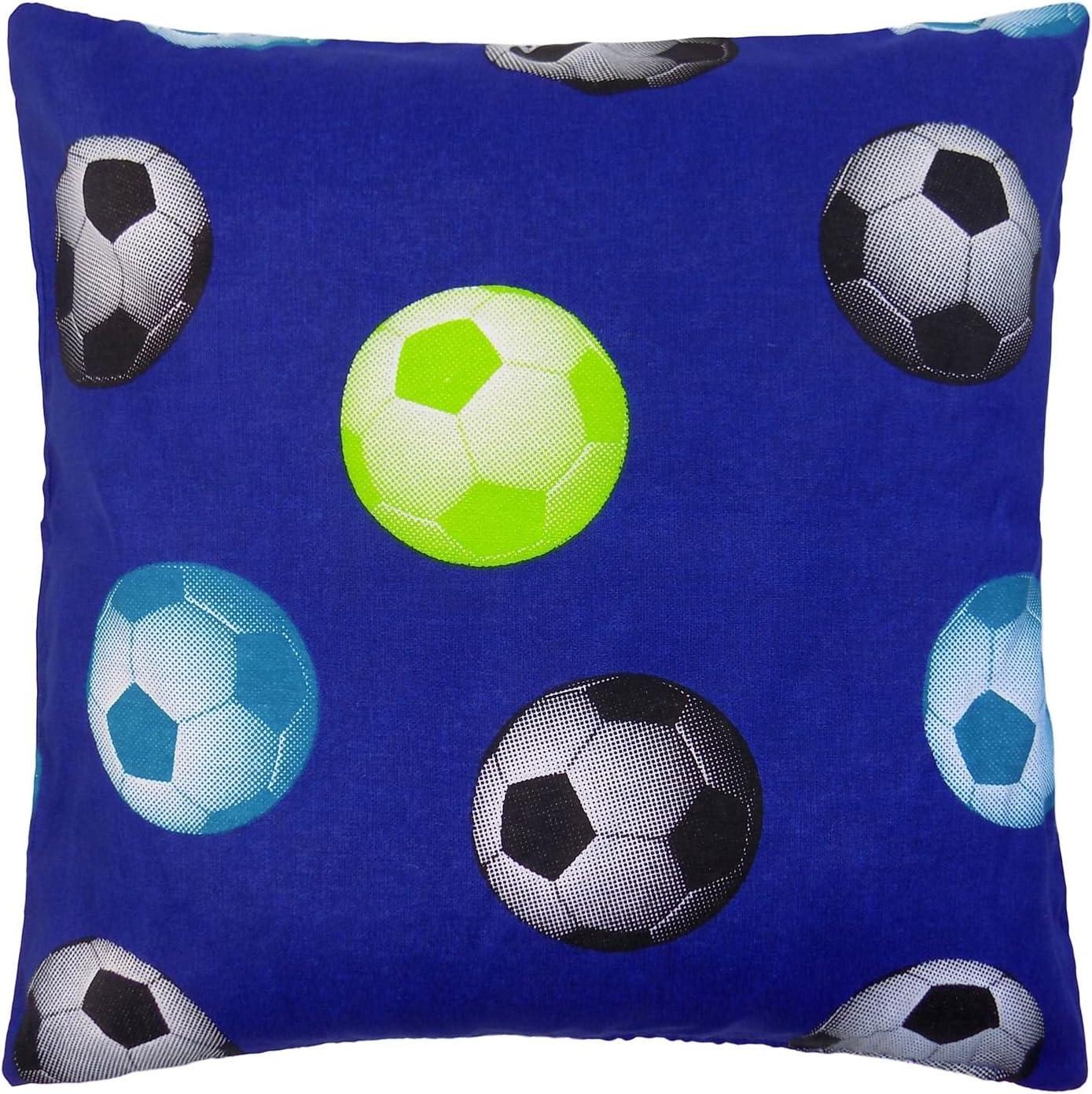 "45CM CUSHION COVER FOOTBALL BLUE BLACK GREEN COTTON BLEND HANDMADE IN UK 18/"""