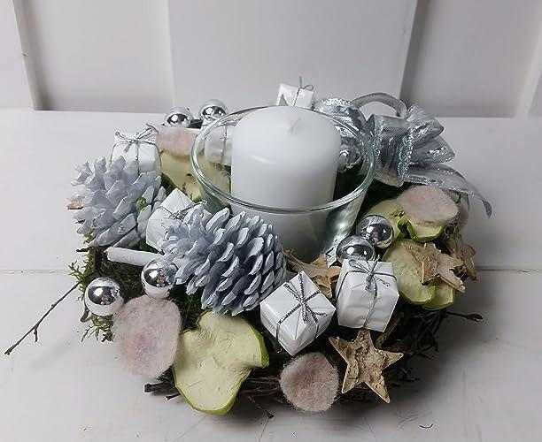 Tischdeko Weihnachten Kranz Silber Weiss Amazon De Handmade