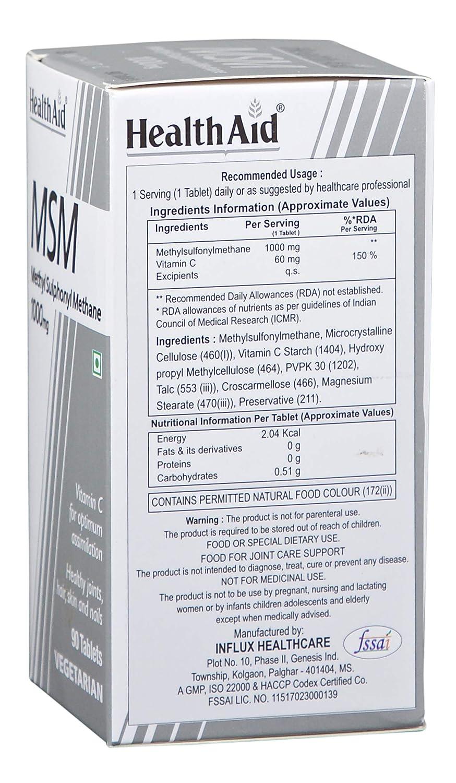 HealthAid MSM 1000mg - 90 Tablets