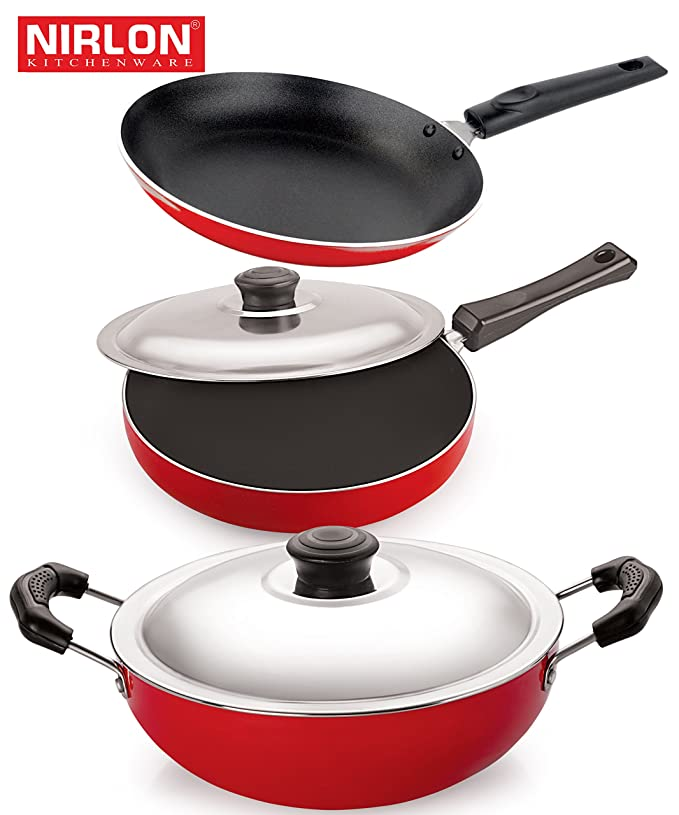 Nirlon Non-Stick Aluminium Cookware Set, 3-Pieces, Red/Black (2.6mm_FP12_DKDM_TP) Pot & Pan Sets at amazon