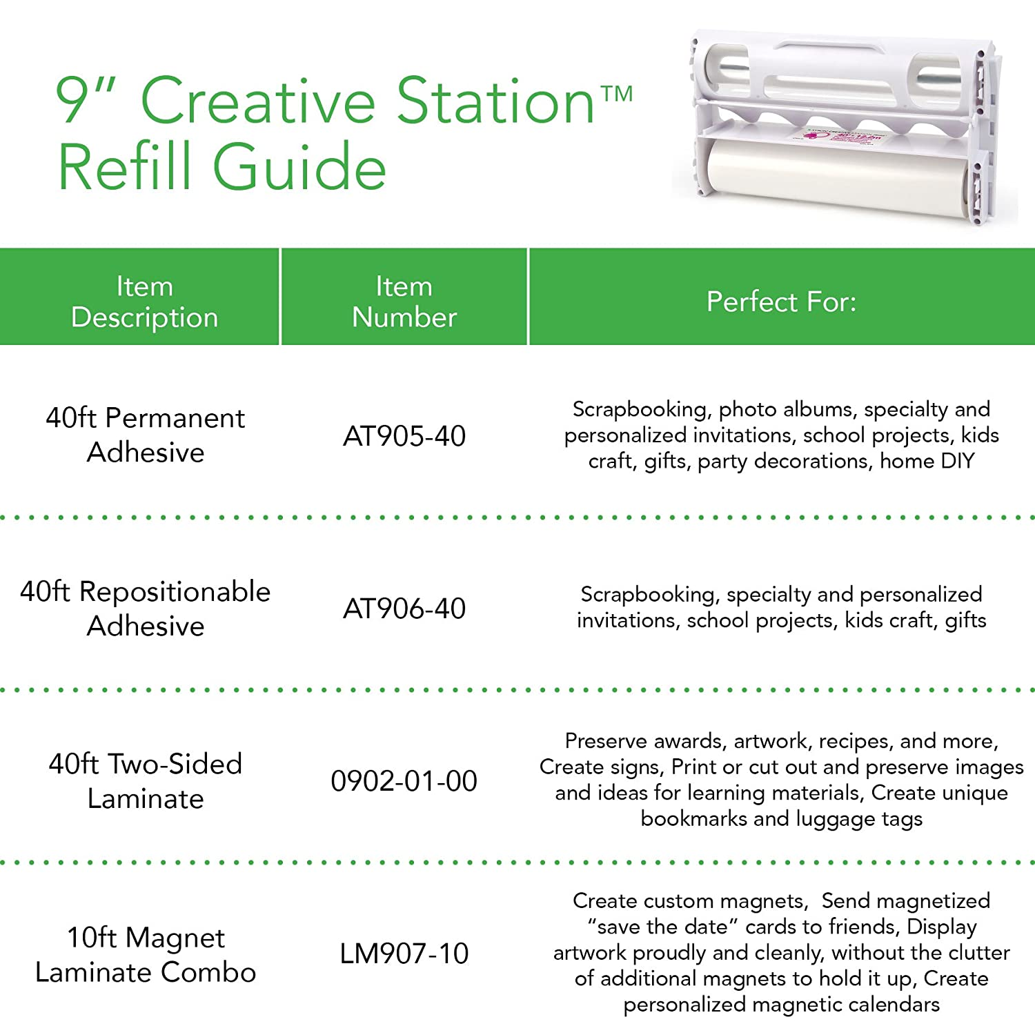 Xyron 9-inch x 40-inch Permanent 900 Adhesive Refill Cartridge, Transparent AT905-40