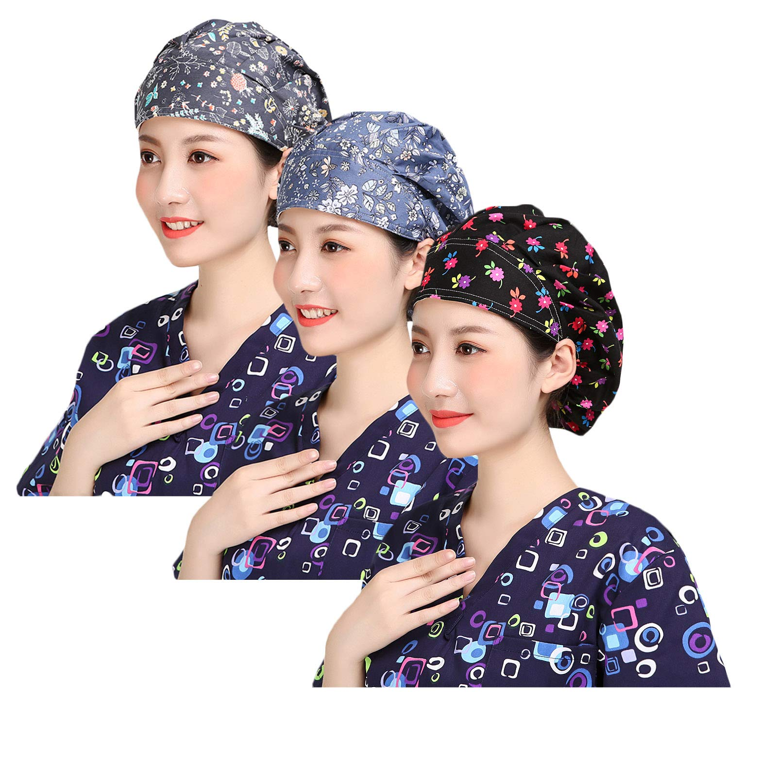 YUENA CARE Scrub Surgical Cap Women Surgery Hats Hospital Doctor Bouffant Hats with Sweatband