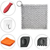 "Cast Iron Cleaner Cosmer XL 7""x7"" Premium Stainless Steel Chainmail Scrubber with Bonus Silicone Hot Handle Holder + Pan Scraper + Grill Scraper + Kitchen Towel + Wall Hook (Square)"