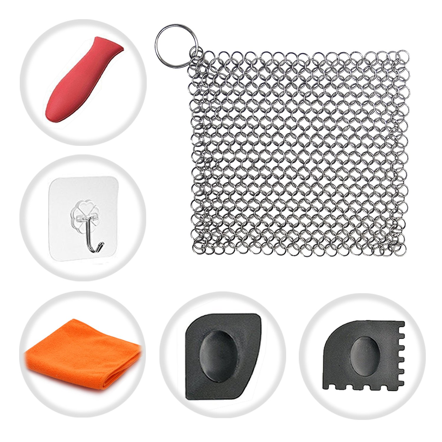 Cast Iron Cleaner Cosmer XL 7x7 Premium Stainless Steel Chainmail Scrubber with Bonus Silicone Hot Handle Holder + Pan Scraper + Grill Scraper + Kitchen Towel + Wall Hook (Square)