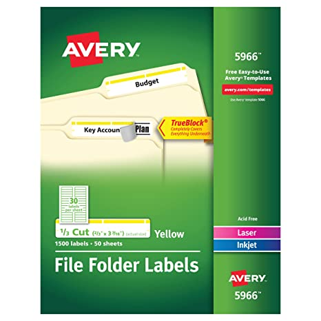 amazon com avery yellow file folder labels for laser and inkjet