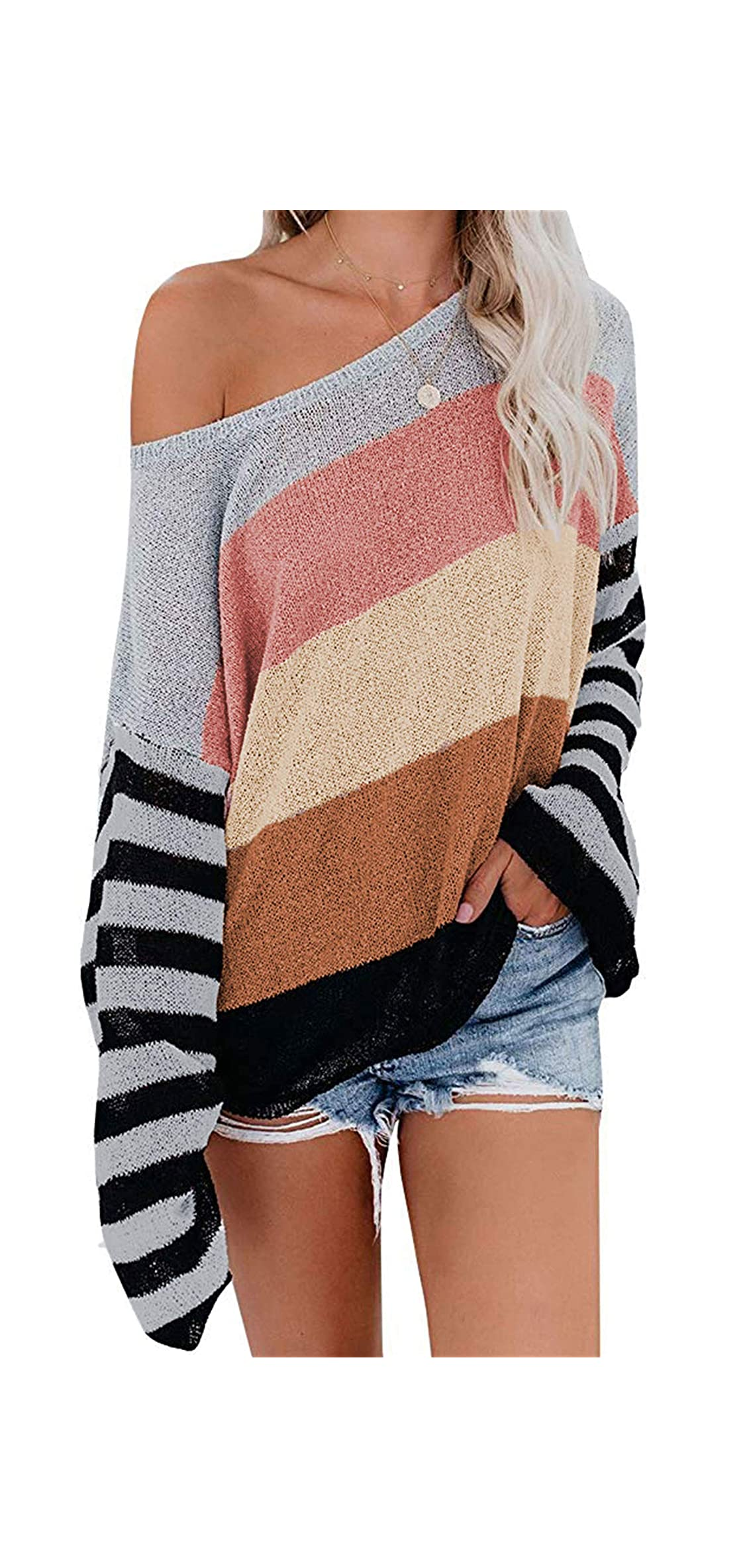 Women's Long Sleeve Rainbow Striped Color Block Knitted