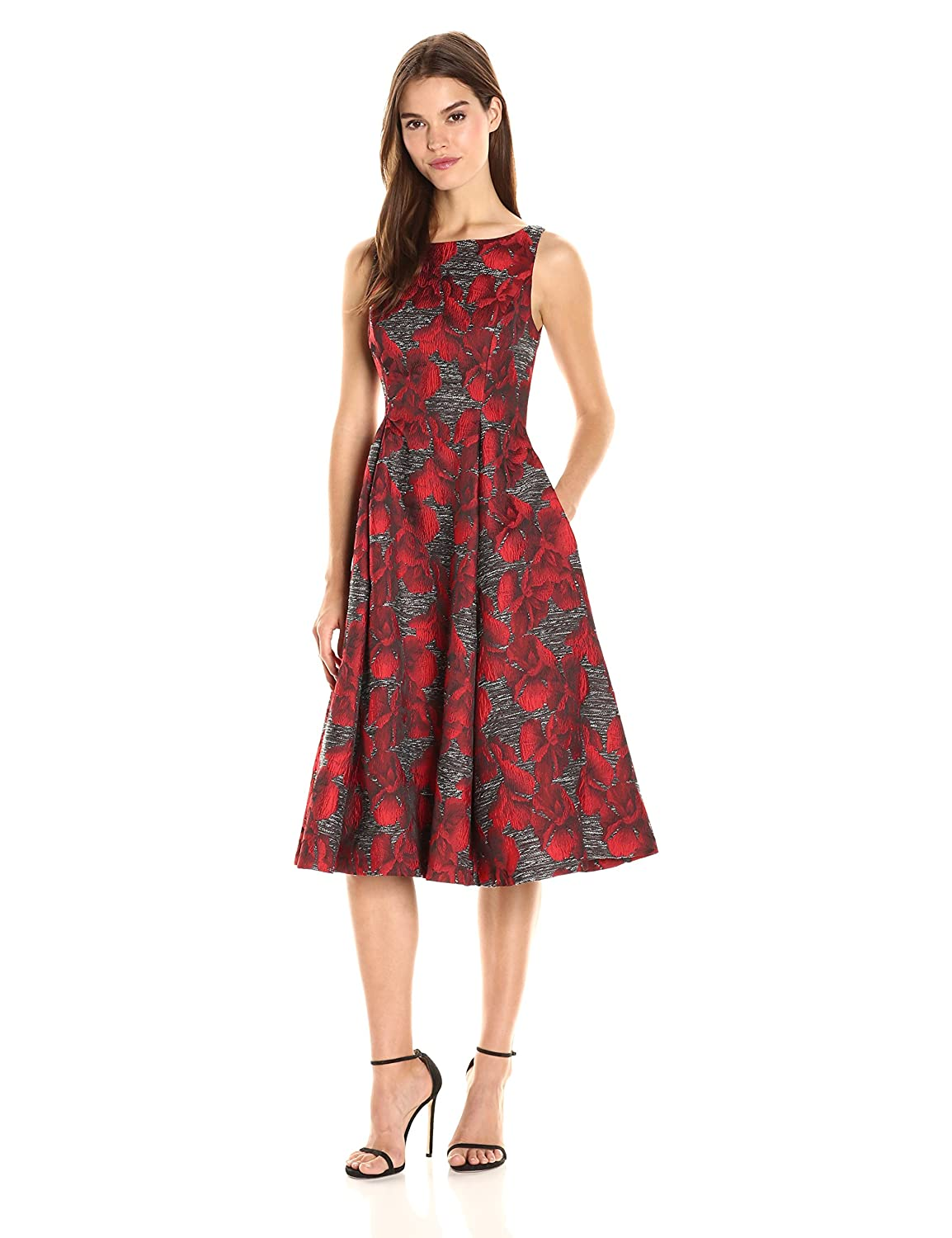 Black Crimson Adrianna Papell Womens Sleeveless Jacquard Cocktail Dress Dress