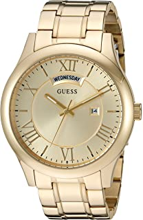 GUESS Mens Stainless Steel Casual Bracelet Watch with Day and Date Display