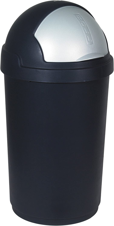 CURVER Abfalleimer Roll Top 50l in schwarzSilber, Plastik, 35 x 25 x 10 cm