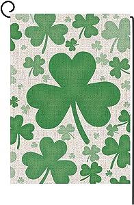 Bravilan St. Patrick's Day Garden Flag Vertical Double Sided Irish Green Shamrock Garden Flag, St Patricks Day Holiday Yard Home Outdoor Decoration 12.5 x 18 Inch
