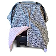2 in 1 Carseat Canopy and Nursing Cover Up with Peekaboo Opening | Large Infant Car Seat Canopy for Girl | Best Baby Shower Gift for Breastfeeding Moms | Grey Herringbone Pattern and Soft Pink Minky