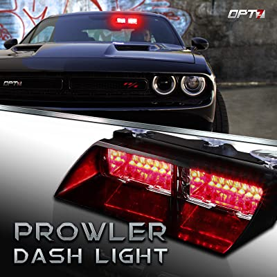 OPT7 Prowler Emergency Dash Light, 16 Daytime Visible LED Police Light, 18 Strobe Patterns for Law Enforcement, Warning, First Response, Fire, Security, and Traffic Control, Red & Red: Automotive