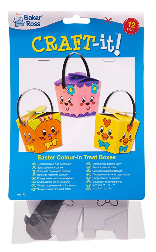 Amazon.com: Baker Ross Easter Color-in Treat Boxes (Pack of ...