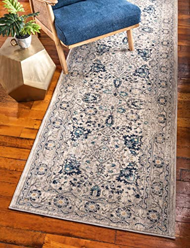 Unique Loom Oslo Collection Distressed Botanical Tradtional Beige Runner Rug 3 x 13