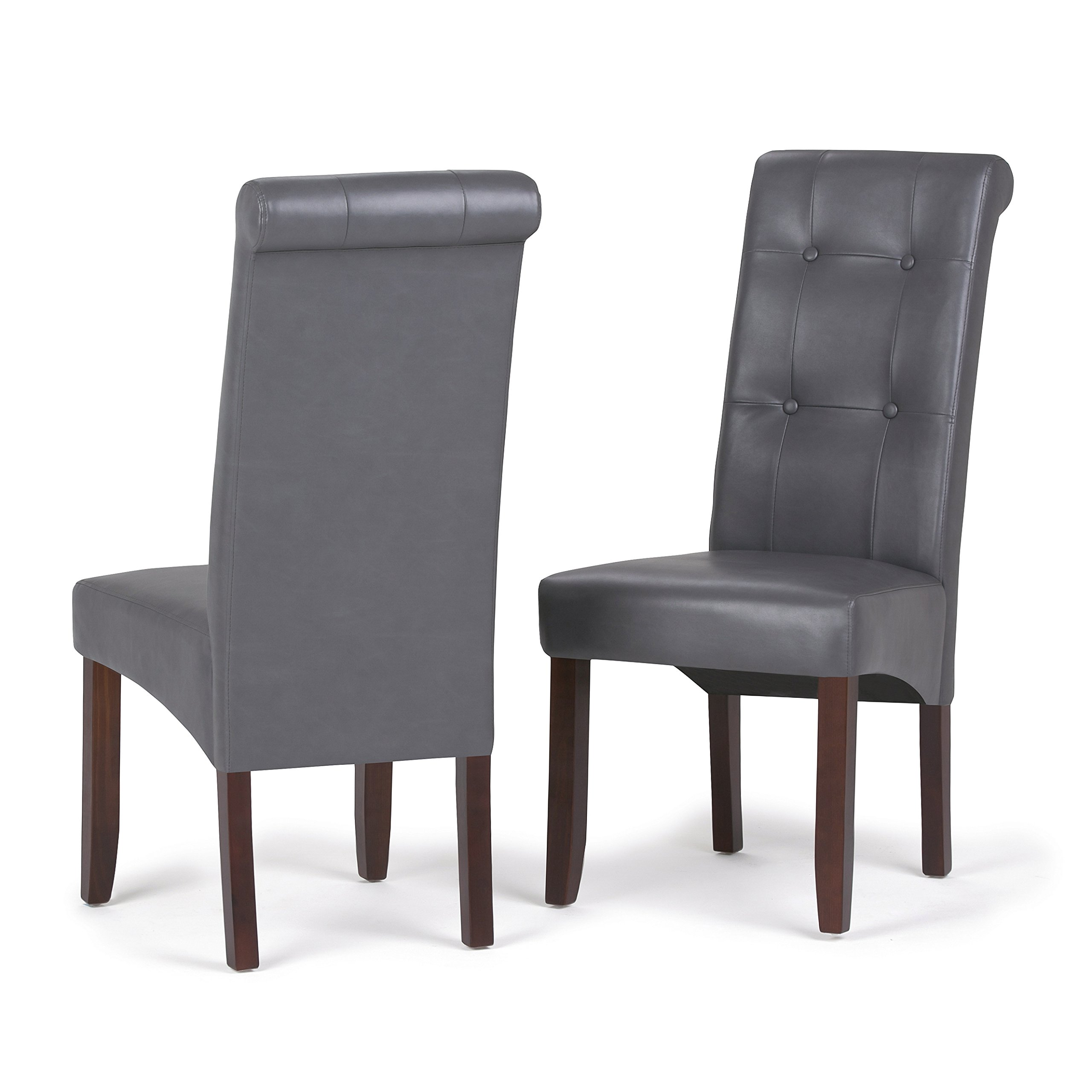 Simpli Home WS5109-4-G Cosmopolitan Contemporary Deluxe Tufted Parson Chair (Set of 2) in Stone Grey Faux Leather by Simpli Home