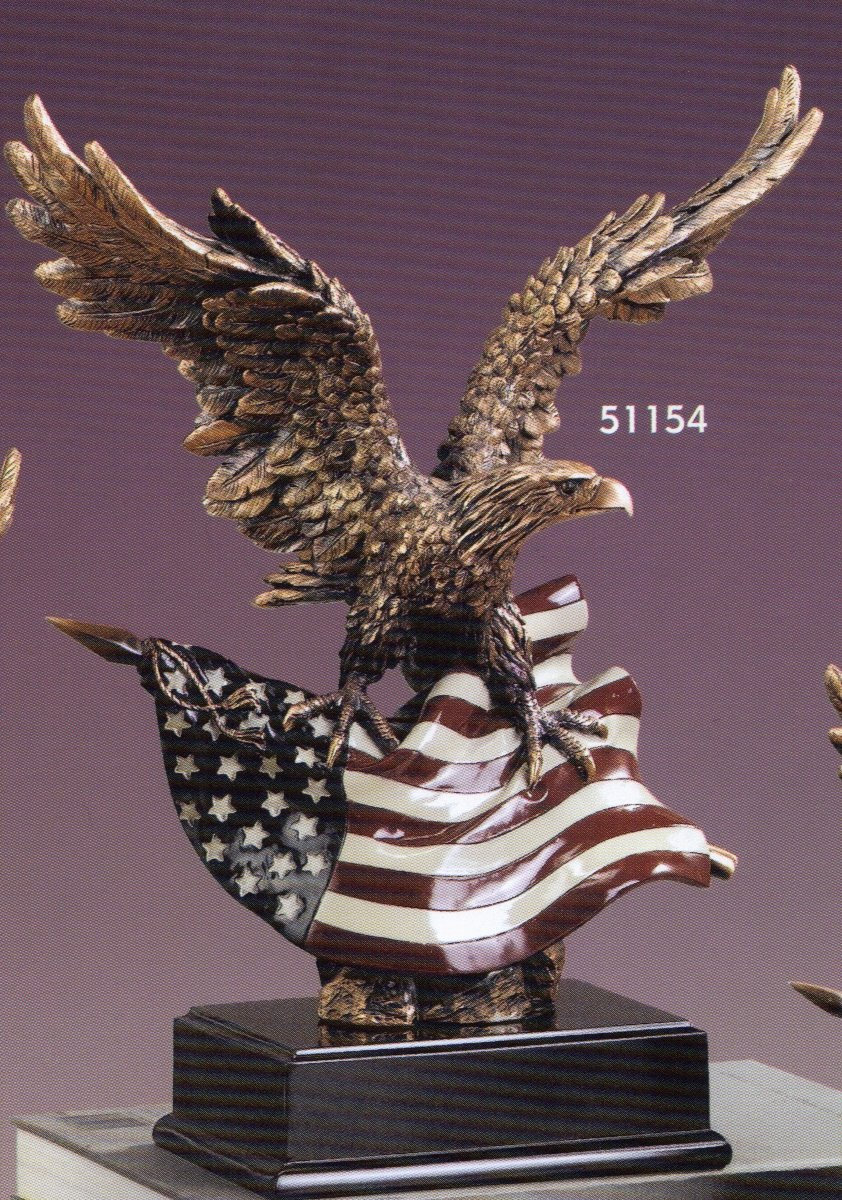 Large Eagle with American Flag Resin Sculpture – 14.5 Tall