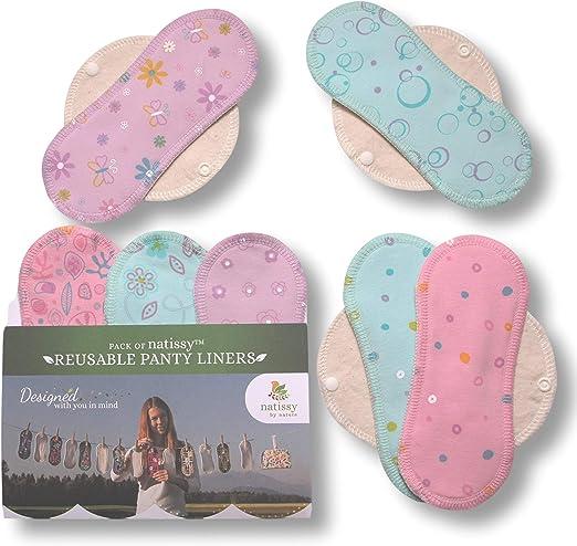 Natissy Salvaslips de tela reutilizables, 7-Pack Protege Slips de algodón con alas HECHAS EN LA UE, Compresas Bio sin PUL, Toallas Sanitarias para el ...