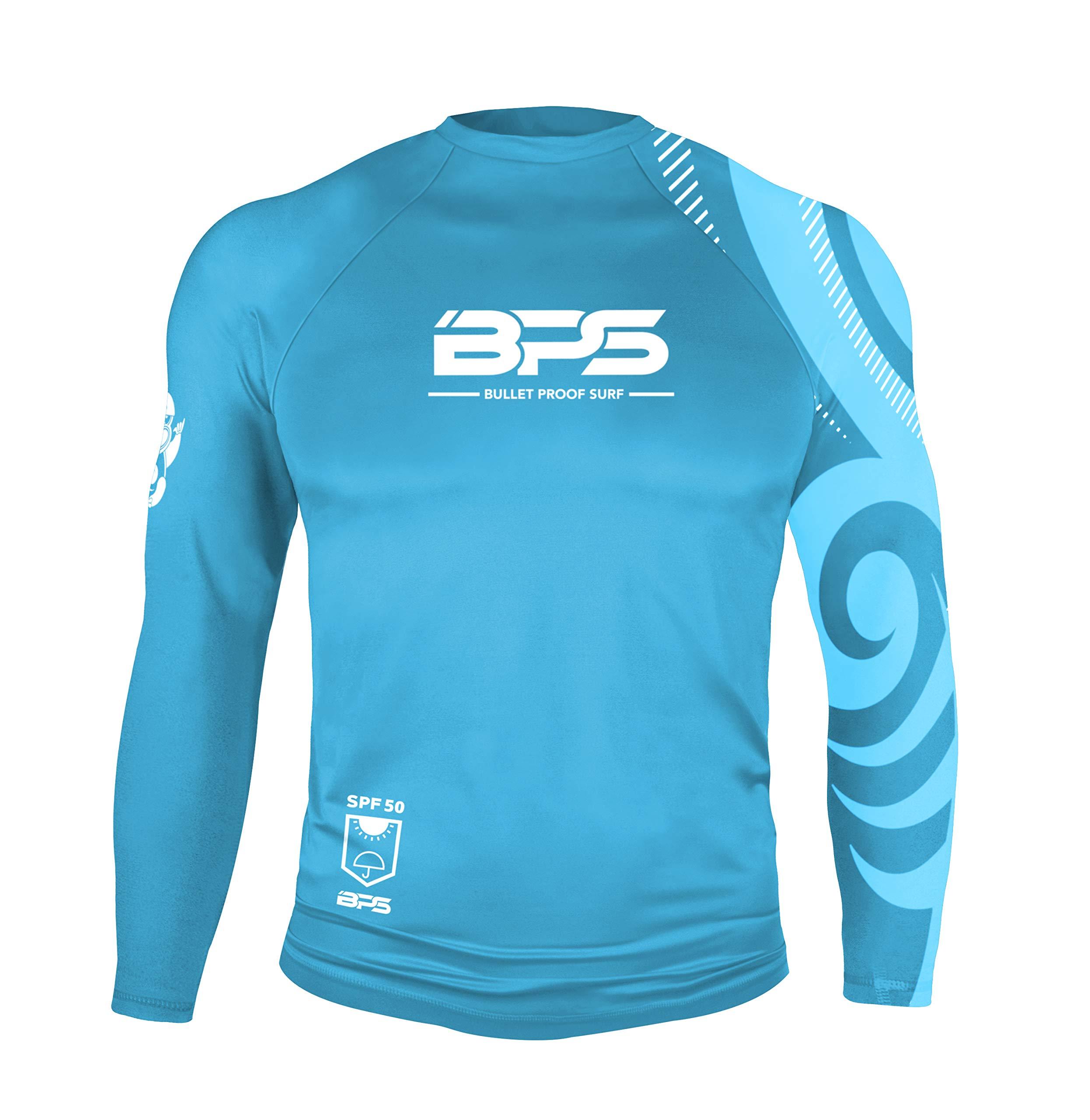 BPS Men's Colorful Long Sleeve Rash Shirt, Patterned Light Blue - White Logo (L)