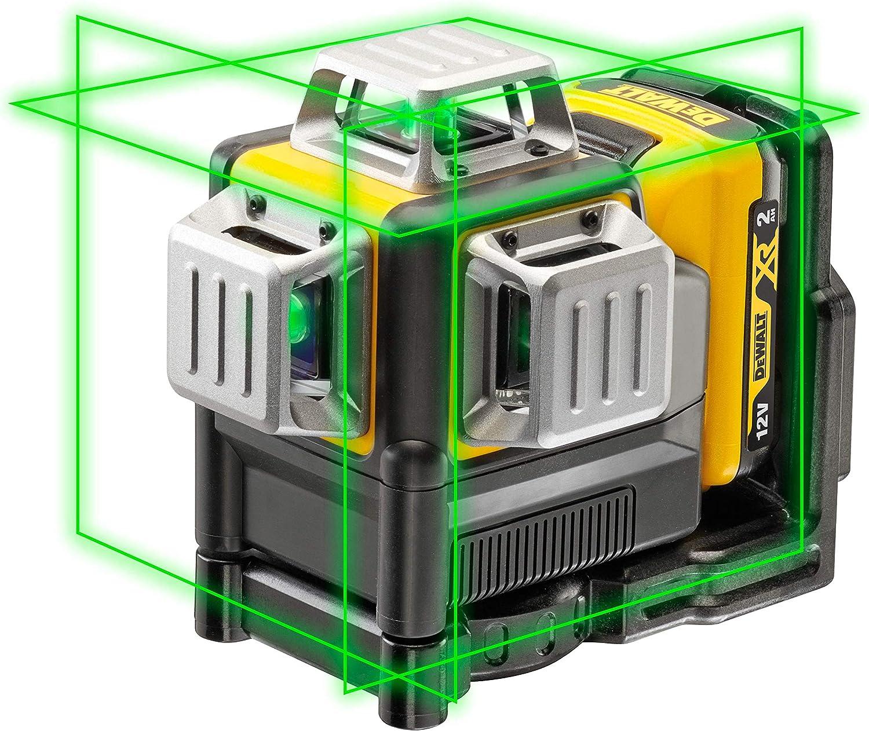 Dewalt DCE089D1G-QW DCE089D1G-QW-Láser autonivelante de 3 lineas de 360º-Incluye batería DW 10,8V Litio-Verde, Negro/Amarillo, 1, Set de 2 Piezas