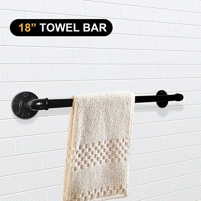 gotonovo Industrial Pipe Toilet Paper Display Holder with Wooden Shelf Cast Iron Hardware for Bathroom Wall Mounted Kit Commercial Grade Metal Rustic