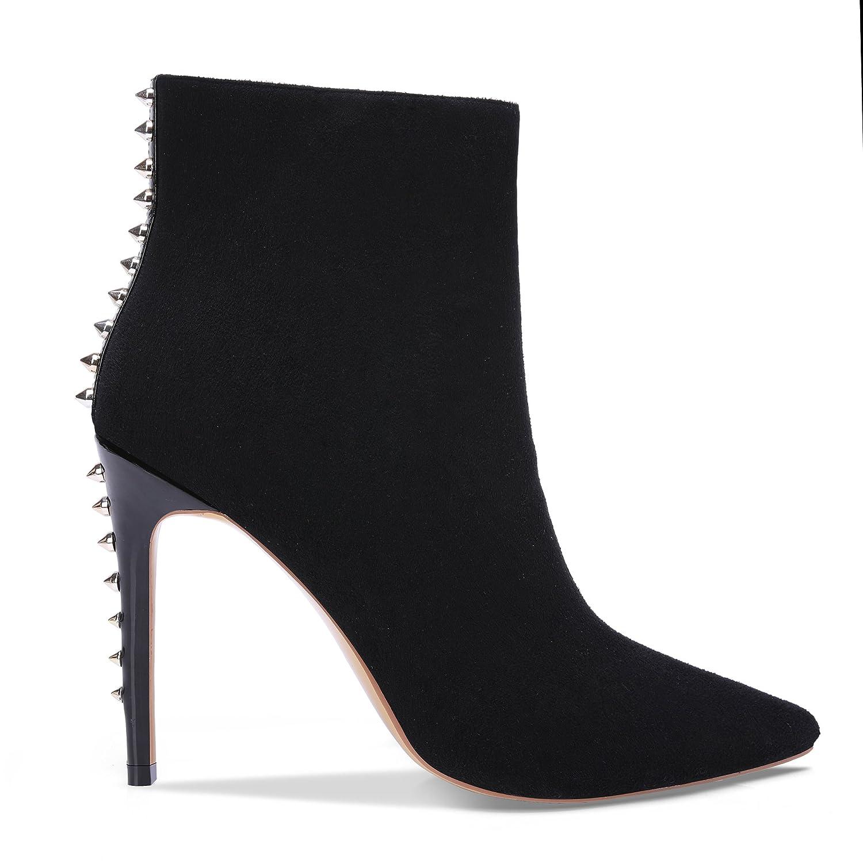onlymaker Pointed Toe Studded Women Rivet Ankle Boots for Women Studded Side Zipper Dress High Heels Booties Black B078YNL4D4 5 B(M) US|P-black 269d56