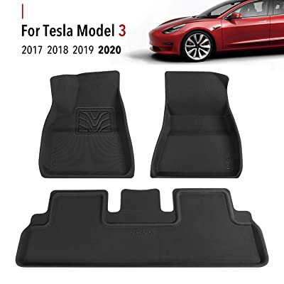 Farasla Floor Mats for Tesla Model 3 - Premium All Weather Anti-Slip Floor Liners - Compatible with 2020, 2020, 2020, 2020 Models (3 Pieces/Set): Automotive