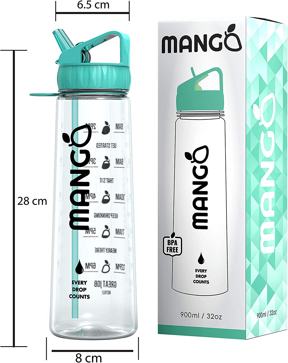 9 Colours Mango Motivational Water Bottle With Straw and Times To drink - BPA Free With Flip Nozzle and Leakproof cap 900ml//32oz