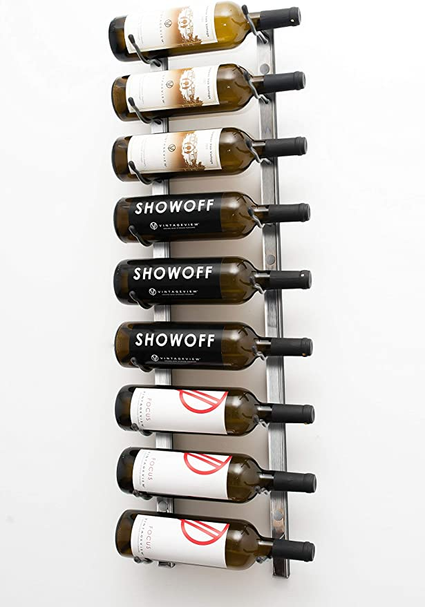 Stylish Modern Wine Storage with Label Forward Design WS31-P VintageView Wall Series-9 Bottle Wall Mounted Wine Rack Brushed Nickel