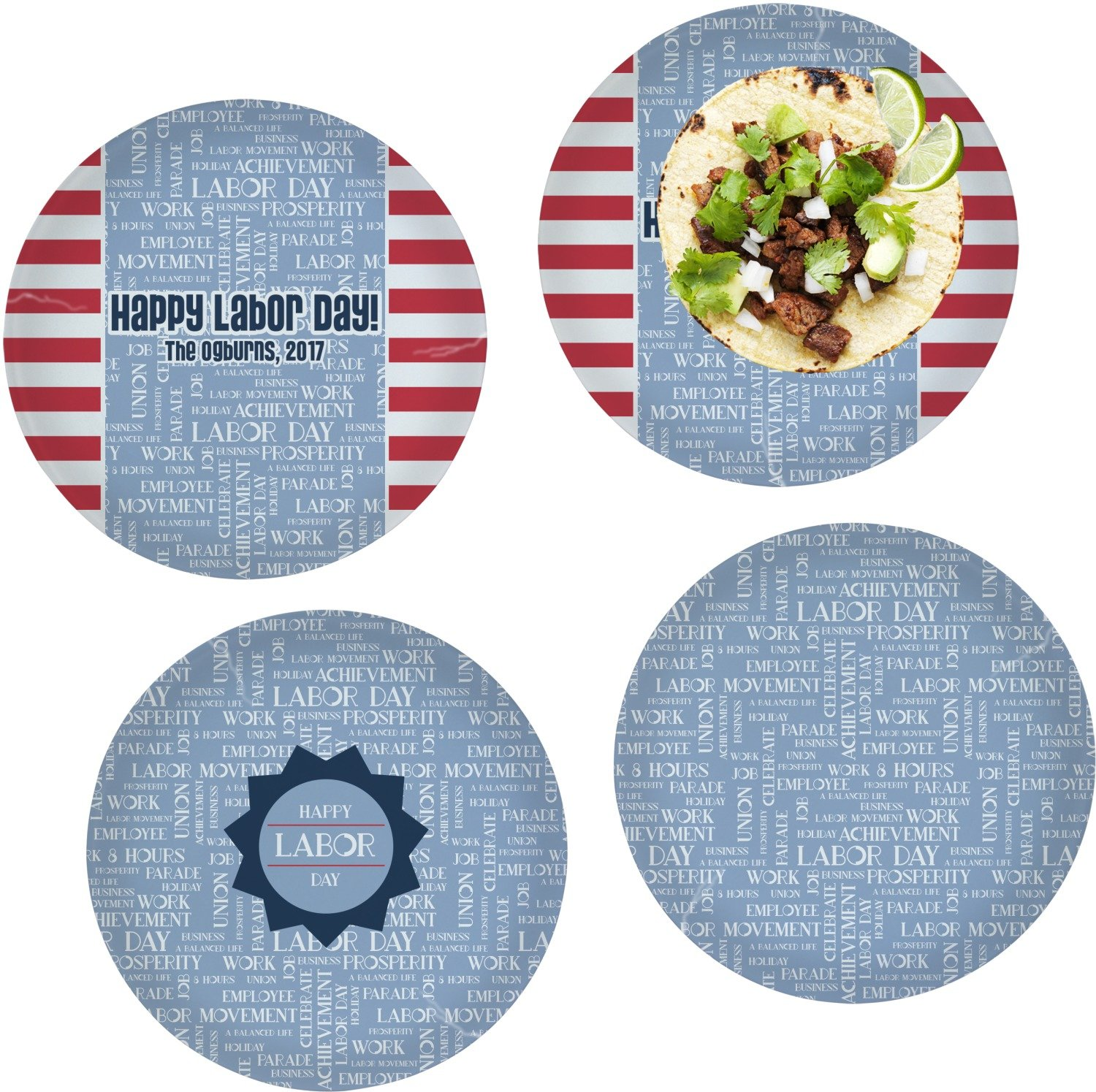 Labor Day Set of 4 Lunch / Dinner Plates (Glass) (Personalized)