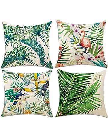 4 Pack Fundas de Cojín, Hotipine Algodón Lino Decorativa impreso Caso de Almohada para Sofá