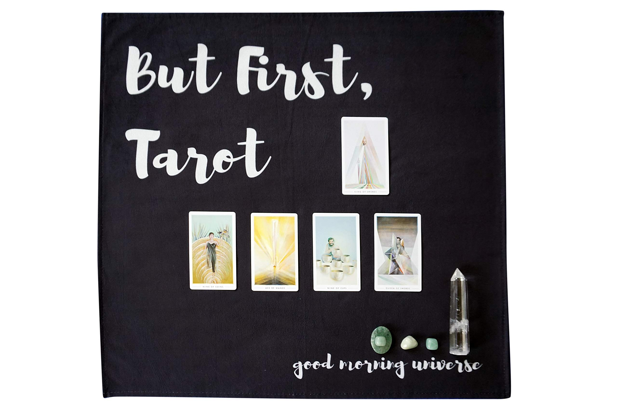 Altar Tarot Cloth with Good Morning Universe (Large, Black, 24 inches x 24 inches) by Hidden Crystal Tarot (Image #2)