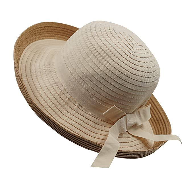 a10da56b10d860 Home Prefer Womens Summer Sun Protection Hat UPF50 Ribbon Straw Sun Bucket  Hats Portable Travel Hat